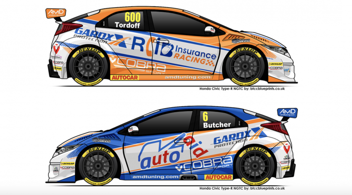 Cobra Sport AmD with AutoAid/RCIB Insurance Racing Honda Civic Type-R Sam Tordoff Rory Butcher